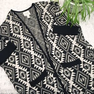 Forever 21 Aztec Knit Open Front Cardigan Size S
